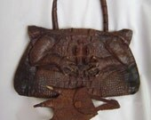ALLIGATOR Handbag w/ Coin Purse, Unique- late 1800's museum piece  2 pieces