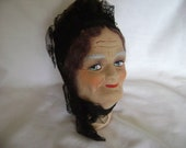 Antique Vintage FRENCH BOUDOIR Lady DOLL Head/Bust, 1920's-30's Very Rare