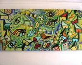 ORIGINAL abstract large contemporary pop art fine art spray paint cubism urban painting by Chris Riggs