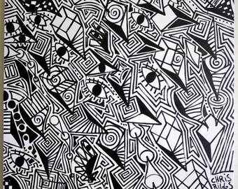 Abstract minimalism original signed cubism black white