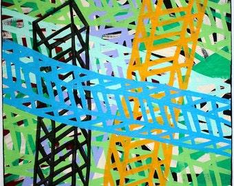 ORIGINAL medium surrealism cubism abstract street art urban pop painting