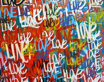 ORIGINAL large surrealism abstract street art urban pop art spray paint word painting