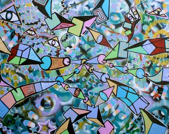 FREE SHIPPING original surrealism abstract street art urban pop art acrylic painting