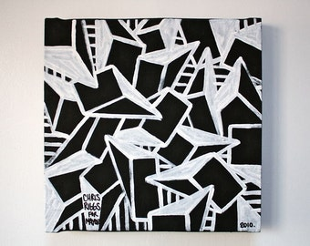 ORIGINAL abstract painting contemporary minimalism black and white modern cubism fine art pop art painting