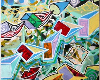 ORIGINAL abstract large contemporary pop art fine art spray paint moderm cubism painting by Chris Riggs