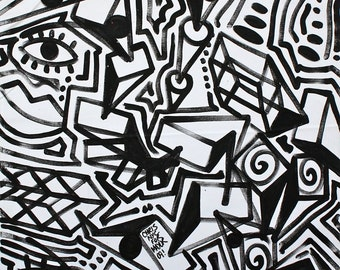 ORIGINAL abstract contemporary painting fine art large acrylic urban modern cubism pop art black and white painting by Chris Riggs
