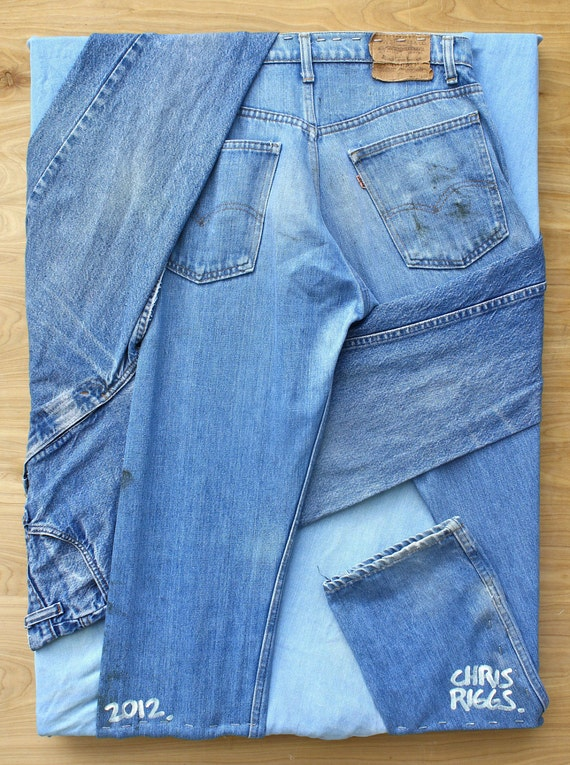 LEVI'S jeans original sculpture dada fine art pop art fabric 50S 60S abstract blue