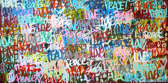 ORIGINAL love Valentine's Day contemporary painting fine art acrylic modern peace pop art colorful cubism painting From ChrisRiggsArtGallery