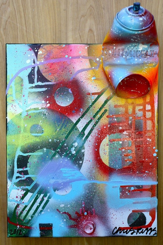 ORIGINAL abstract contemporary urban cubism fine art spray paint colorful mixed media original painting 2012