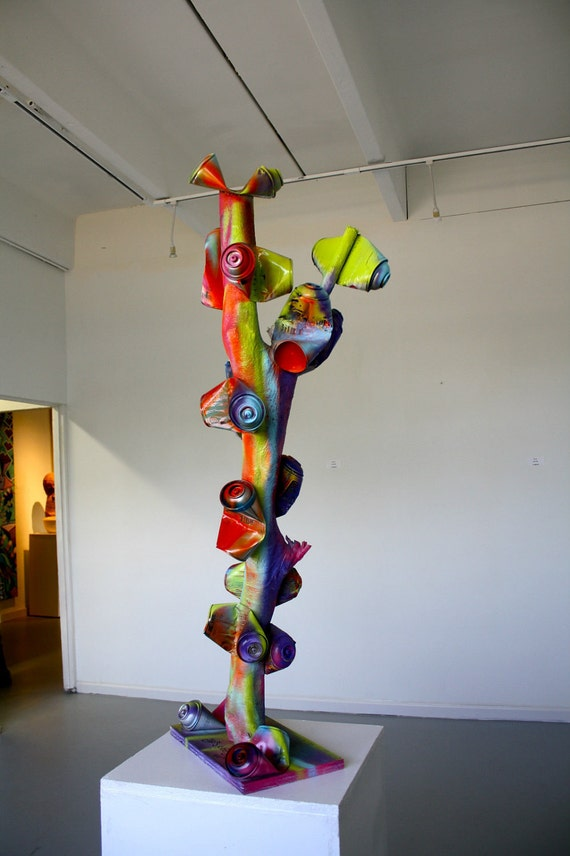 ORIGINAL pop art sculpture wood tree spray by ...