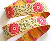"Woven Ribbon  ""Border Flower""  - 1"" x 2 1/3 yds - 1 available"