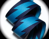 """Custom Listing Lighting Bolt Woven Jacquard  Ribbon - 1 1/2"""" x 2 yds Navy Blue and Turquoise - Reversible -1 available"""