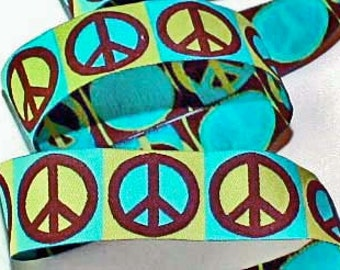 "Woven Jacquard 1"" in Turquoise, Kiwi and Brown  - Peace Sign Ribbon"