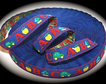 """Woven Ribbon - 1"""" x 3 yards Royal Blue, Red, Yellow (apples, vw's) - SALE - ABC"""
