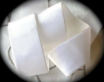 "Vintage Rayon Velvet -  100% Rayon 1 1/2"" x 2 yd  - Winter White - Made In Switzerland - Great for Dying- Soft Hand"