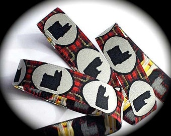 """Woven Ribbon """"Yorkie"""" Ribbon - 5/8"""" x 3 yds Red, Black and Creme"""