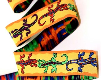 "Woven Jacquard ""Gecko"" Ribbon - 1""  Yellow, Orange, Red, Purple, Lime, Blue etc."
