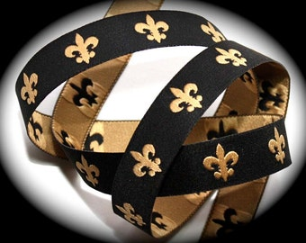 """Fleur De Lis Woven Ribbon in 3/8"""" x 3 Yards - Black and Gold (3/8"""" width)"""
