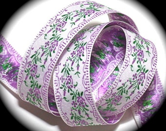 "Ribbon - 1"" x 3 yds Purples and Green - Made in Japan - Woven Ribbon"
