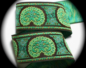 "Woven Jacquard Ribbon - Bijoux  -1 7/8"" x 1 yd  Greens, Blue, Brown and Lt. Gold (not metallic) Bijoux2"