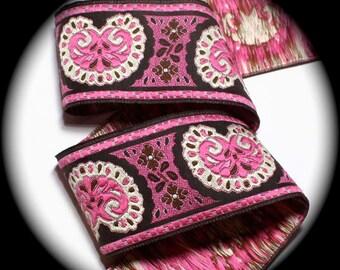 "Woven Jacquard Ribbon - Bijoux  -1 7/8"" x 1 yd  Black, Pink and Ivory Bijoux3"