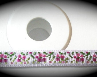Woven Ribbon - 7mm x 10 yards , 100% Rayon, White Pink and Green Floral - Made in Switzerland - SALE