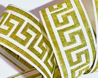 "Greek Key Ribbon -1 1/2"" x 3 yds - Greek Key Woven Ribbon Olive/Kiwi and White"