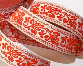 "Metallic Gold (Muted) Woven Jacquard  Ribbon  Floral 1""  x 2 yards  Muted Gold and Coral Orange- Metallic9148"