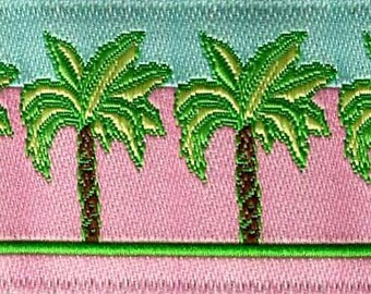 "Palm Trees - 5/8"" x 2 yds -Pink , Blue and Green  - Woven Jacquard"