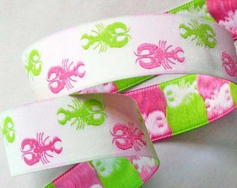 """Lobster  Ribbon - 1"""" White, Pink and Lime Woven Jacquard Ribbon"""