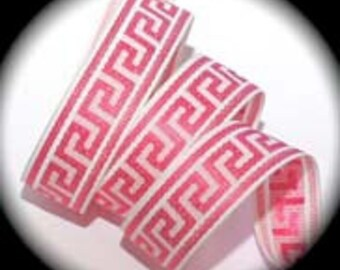 "Greek Key Ribbon Design Hot Pink and White 1"" x 3 yds"