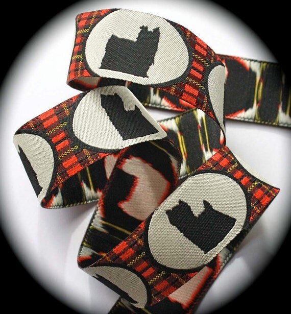 """Woven Ribbon """"Yorkie"""" Yorkshire Terrier Ribbon - 1"""" x 3 yds Red, Black and Creme"""