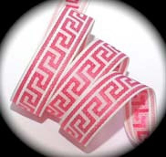 "Greek Key Ribbon Design Hot Pink and White 1"" x 3 yds"