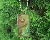 A forest of greens and browns and a gold heart necklace -Resin Jewelry Pendant -Three Demensional wearable art by Terripoppinscrafts