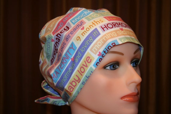Tie Back Surgical Scrub Hat/Chemo Hat--She's Having A Baby