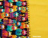 COTTON PILLOWCASE for children, bright cats, yellow, multi colored