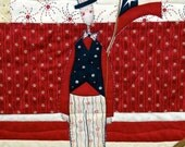 """Patriotic Wall Quilt, Red white and blue,  """"Land of Liberty"""" July 4th"""