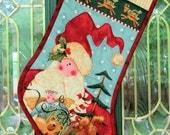Quilted Christmas Stocking, Santa Christmas Stocking, Christmas holiday