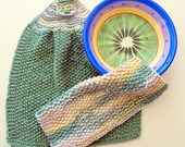 Knitted Hand Towel with hanging loop and Dish Cloth Set, greens and creams