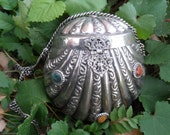 Clam Shaped Silver Plated Purse 1920s