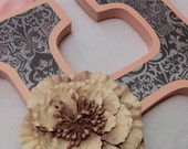 Wood Letters - Pink and Gray Damask