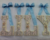Wood Letters - Pastel Shabby Chic Floral