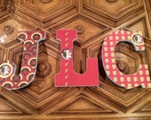 College Football Themed Hanging Wall Letters - FSU - UF