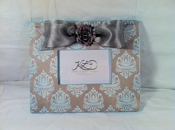 4x6 Handmade Boutique Picture Frame - Turquoise and Gray Damask - Floral - Embellished