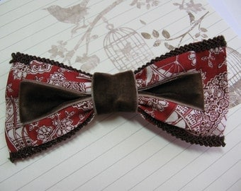 Brown Velvet Hair Double Bow Steampunk Victorian