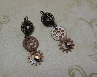Copper Gears Steampunk Industrial Earrings