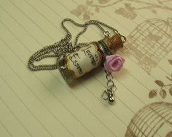 Lavender Essence Glass Bottle Necklace
