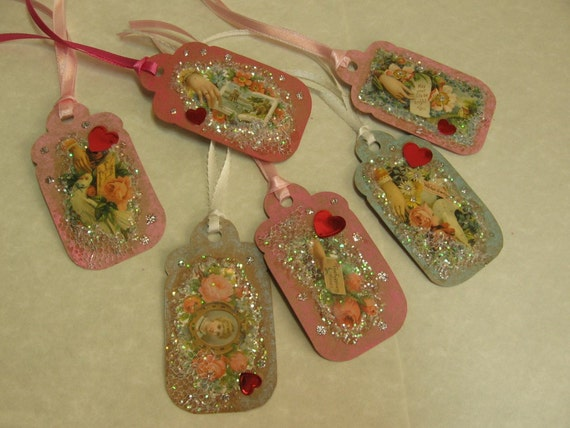 Victorian Valentine Gift Tags - six tags