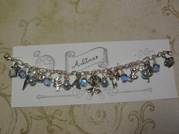 Alice in Wonderland Blue Pearl Charm Bracelet