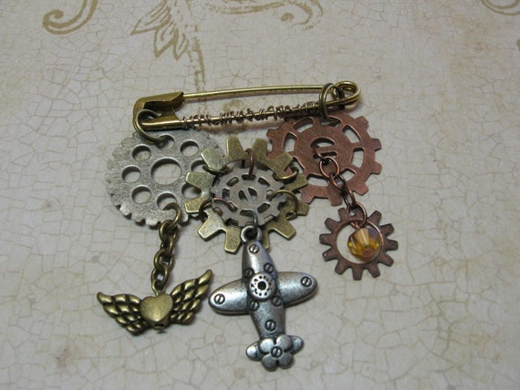 Steampunk Aviator Brooch Industrial